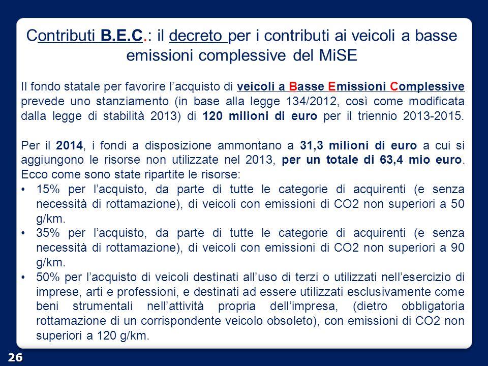 Contributi B.E.C.: il decreto per i contributi ai veicoli a basse emissioni complessive del MiSE