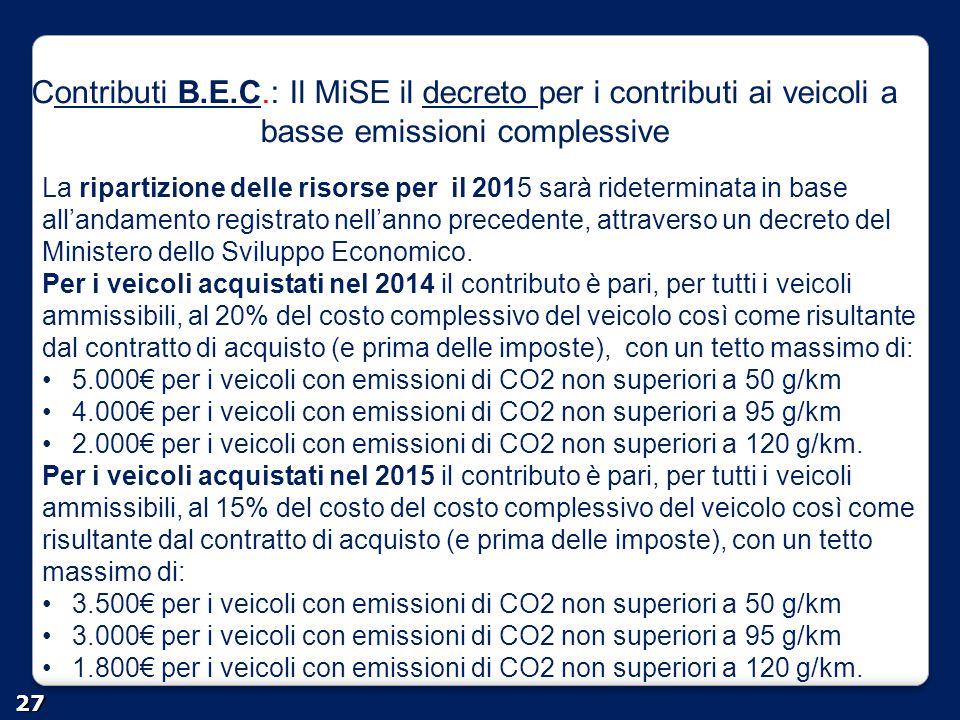Contributi B.E.C.: Il MiSE il decreto per i contributi ai veicoli a basse emissioni complessive