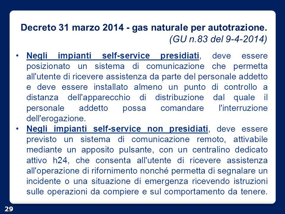 Decreto 31 marzo 2014 - gas naturale per autotrazione. (GU n