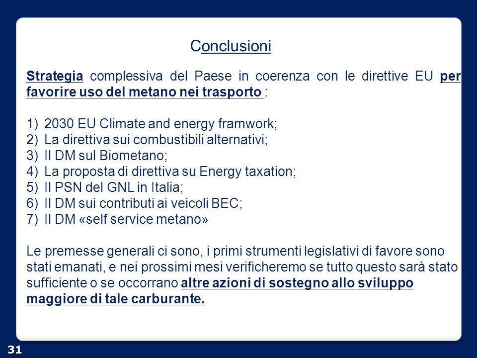 Conclusioni Strategia complessiva del Paese in coerenza con le direttive EU per favorire uso del metano nei trasporto :