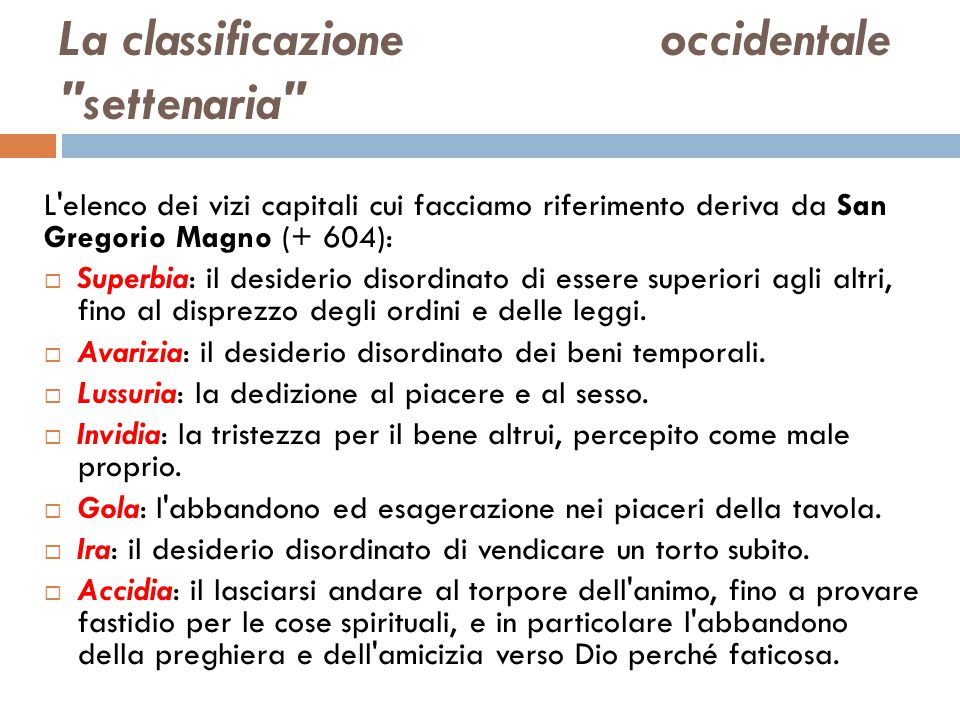 La classificazione occidentale settenaria