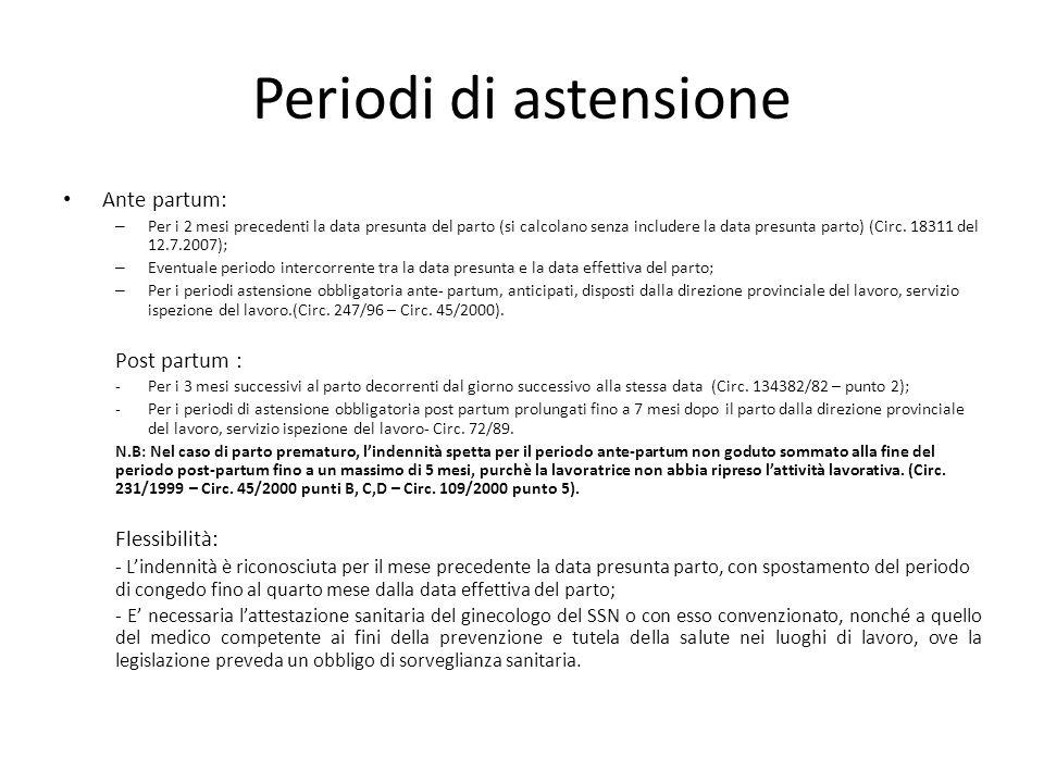 Periodi di astensione Ante partum: Post partum : Flessibilità: