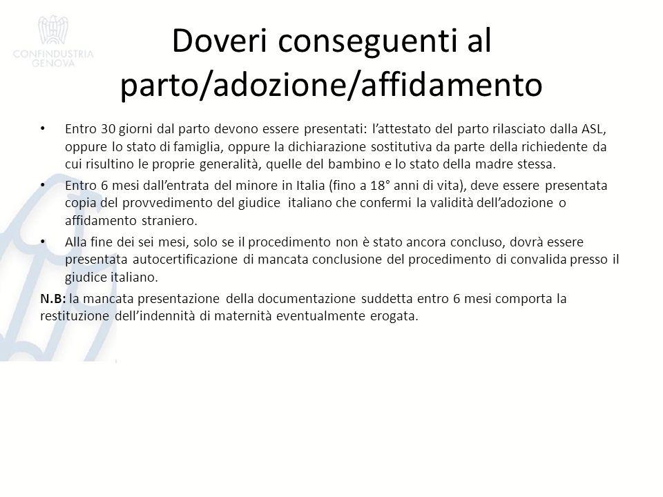 Doveri conseguenti al parto/adozione/affidamento
