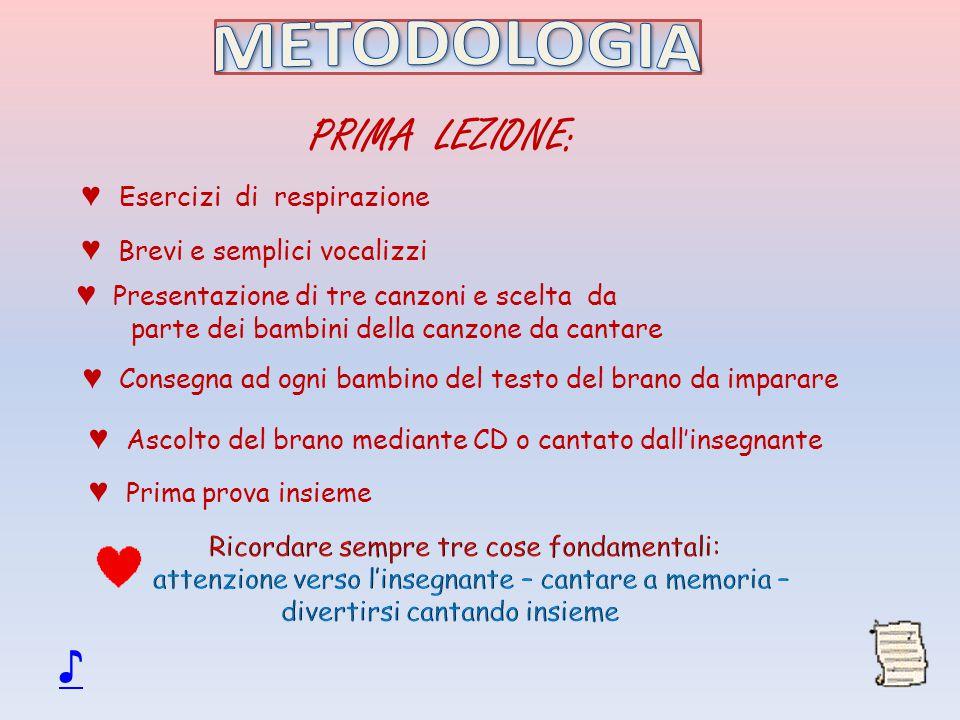METODOLOGIA PRIMA LEZIONE: ♪ ♥ Esercizi di respirazione