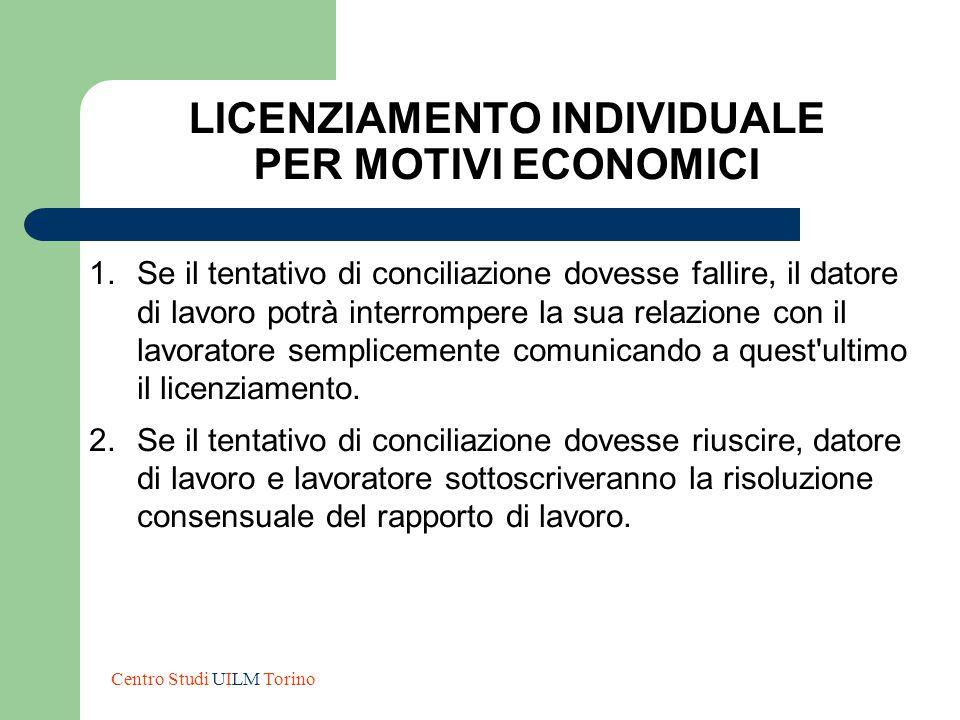 LICENZIAMENTO INDIVIDUALE PER MOTIVI ECONOMICI