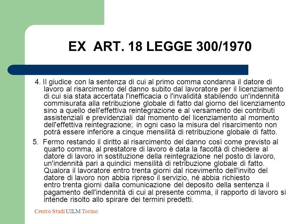 EX ART. 18 LEGGE 300/1970