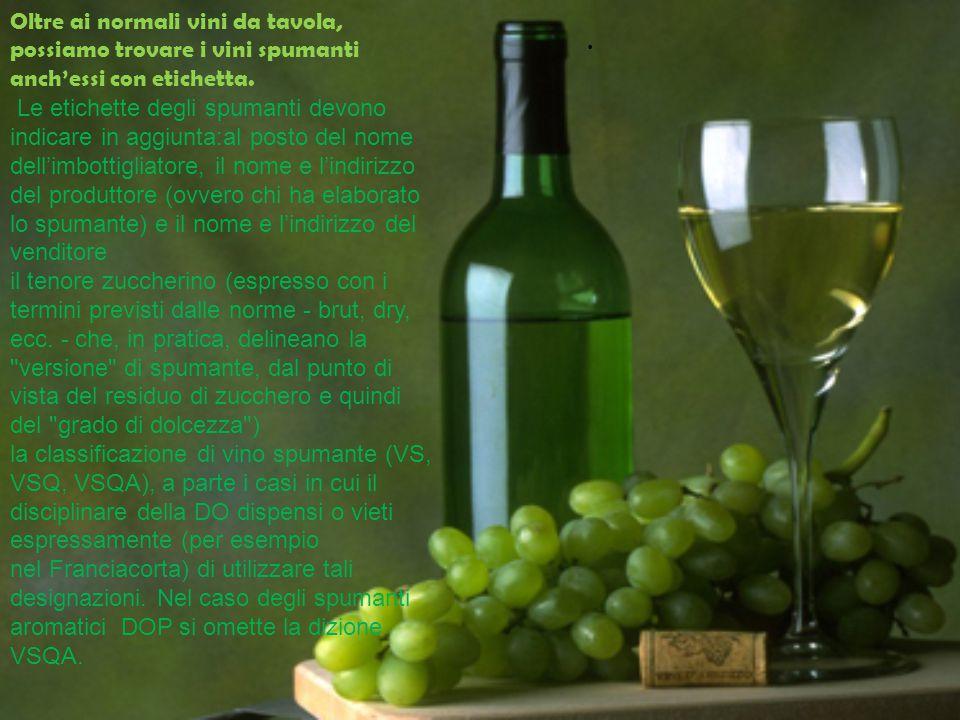 Oltre ai normali vini da tavola, possiamo trovare i vini spumanti anch'essi con etichetta.