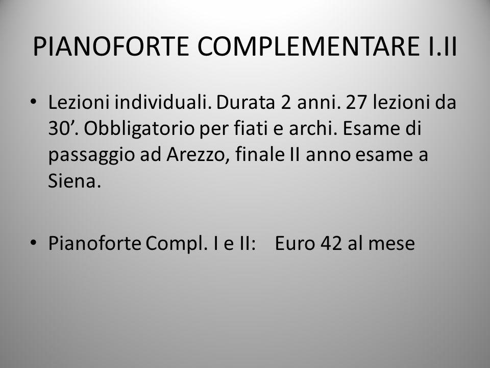 PIANOFORTE COMPLEMENTARE I.II