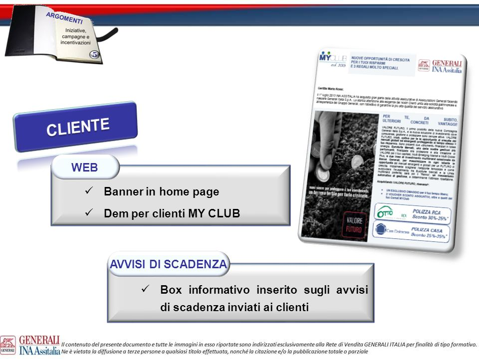 CLIENTE WEB Banner in home page Dem per clienti MY CLUB