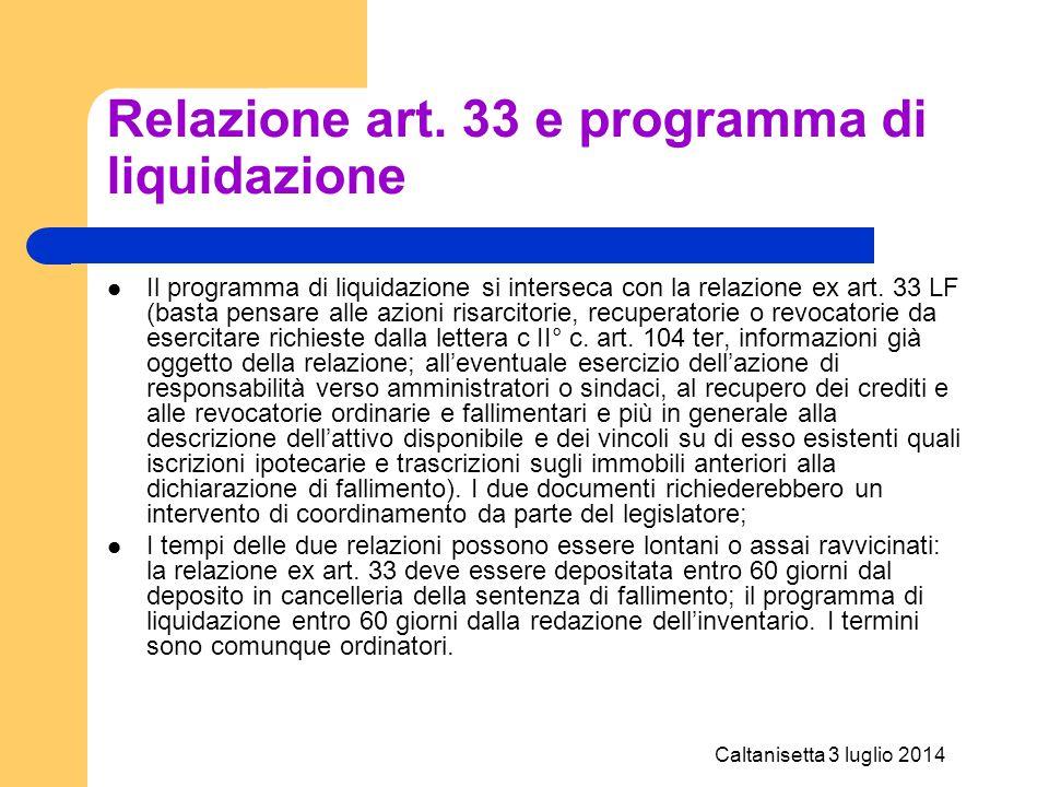 Relazione art. 33 e programma di liquidazione