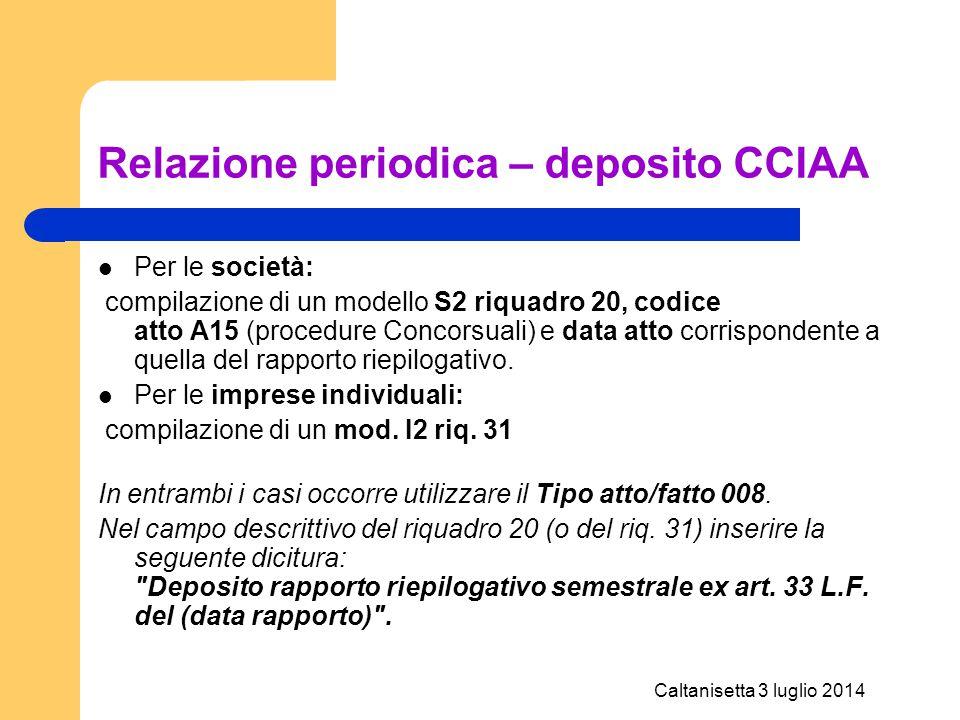 Relazione periodica – deposito CCIAA