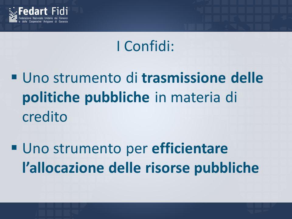 I Confidi: Uno strumento di trasmissione delle politiche pubbliche in materia di credito.