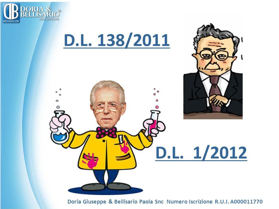 D.L. 138/2011 D.L. 1/2012. Doria Giuseppe & Bellisario Paola Snc Numero Iscrizione R.U.I.