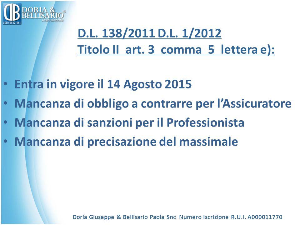 D.L. 138/2011 D.L. 1/2012 Titolo II art. 3 comma 5 lettera e):