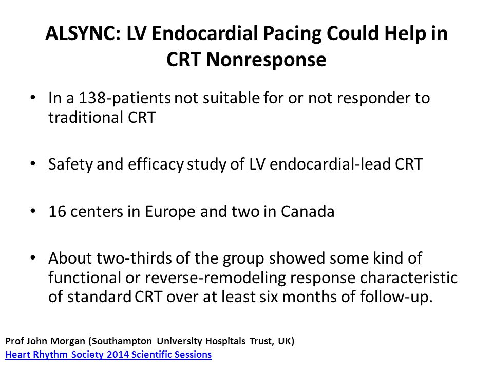 ALSYNC: LV Endocardial Pacing Could Help in CRT Nonresponse