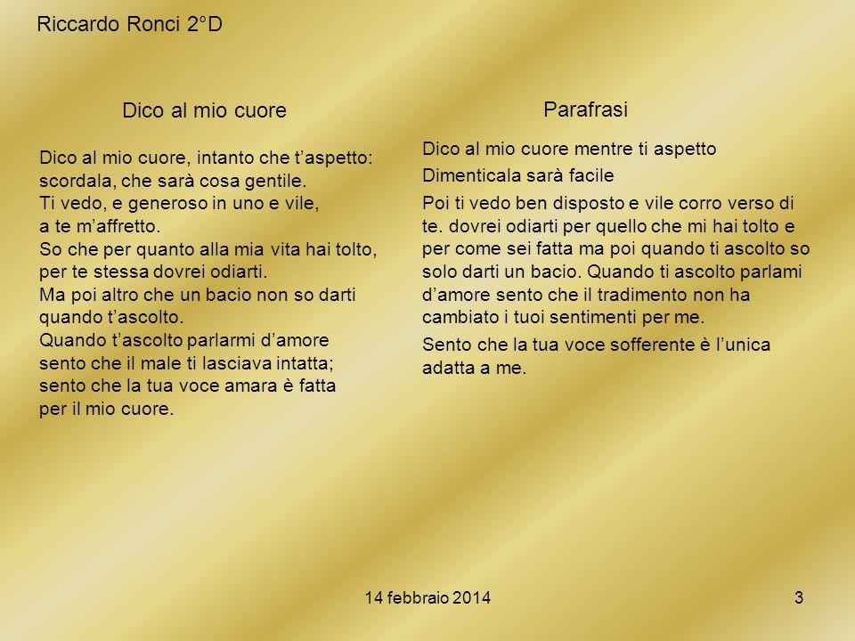 Riccardo Ronci 2°D Parafrasi