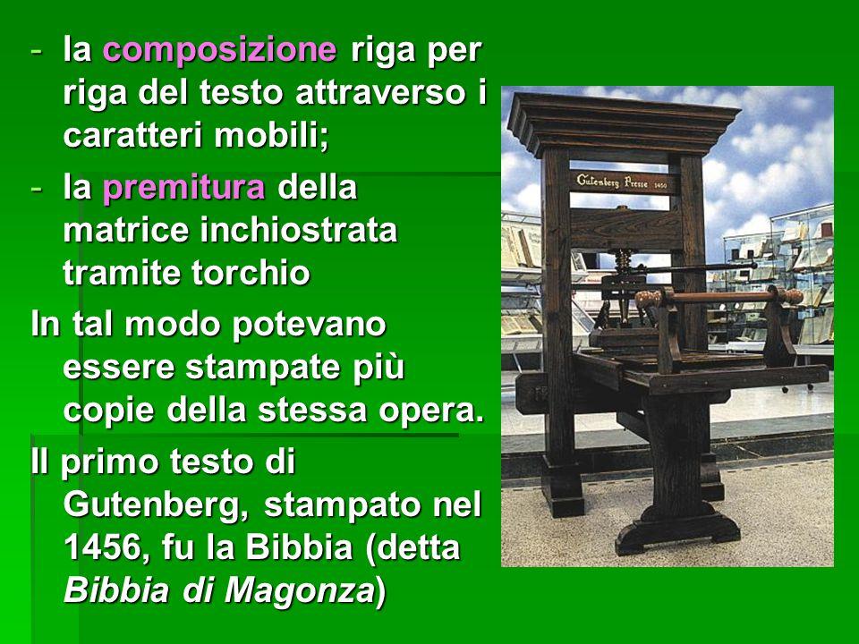 la composizione riga per riga del testo attraverso i caratteri mobili;