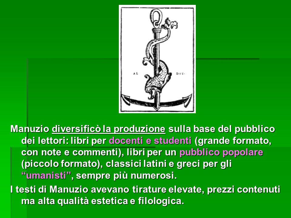 Manuzio diversificò la produzione sulla base del pubblico dei lettori: libri per docenti e studenti (grande formato, con note e commenti), libri per un pubblico popolare (piccolo formato), classici latini e greci per gli umanisti , sempre più numerosi.