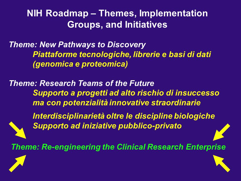 NIH Roadmap – Themes, Implementation Groups, and Initiatives