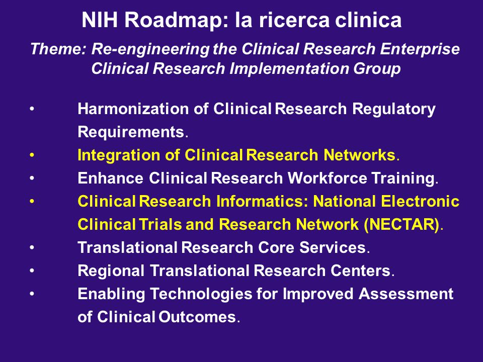 NIH Roadmap: la ricerca clinica