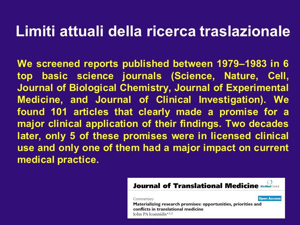 Limiti attuali della ricerca traslazionale