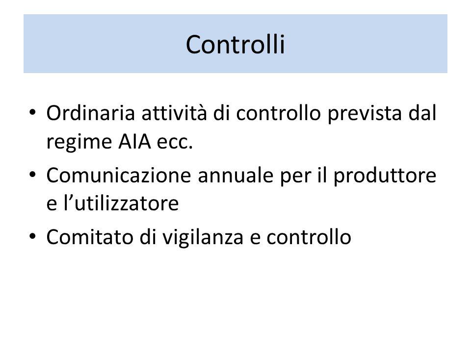 Controlli Ordinaria attività di controllo prevista dal regime AIA ecc.