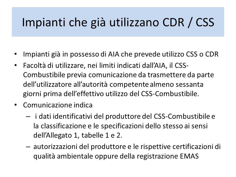 Impianti che già utilizzano CDR / CSS