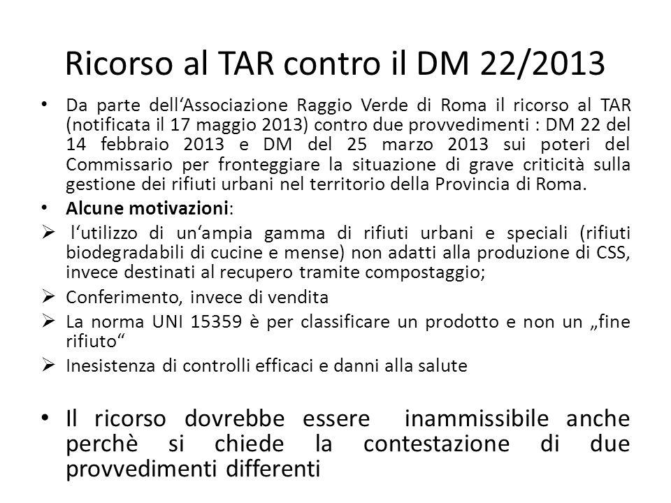 Ricorso al TAR contro il DM 22/2013