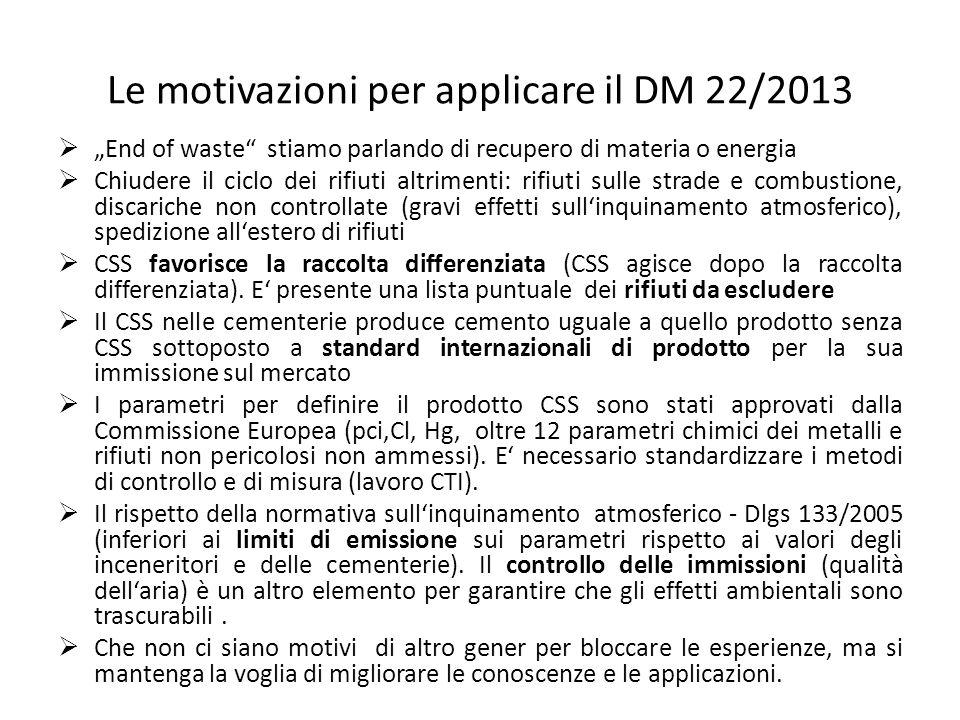 Le motivazioni per applicare il DM 22/2013