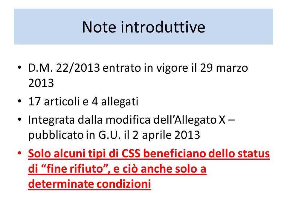 Note introduttive D.M. 22/2013 entrato in vigore il 29 marzo 2013