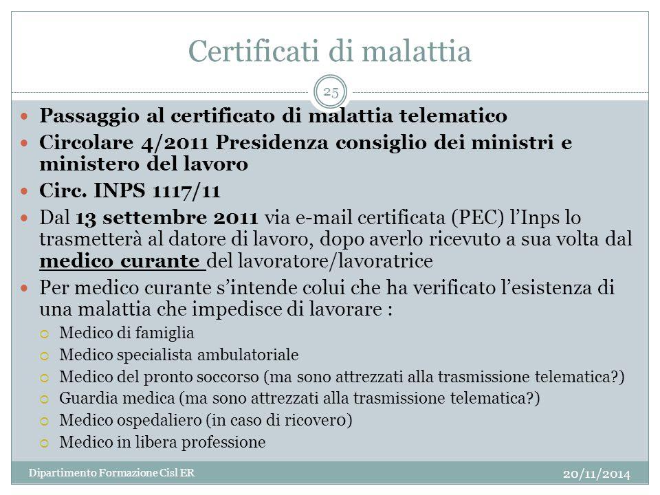 Certificati di malattia