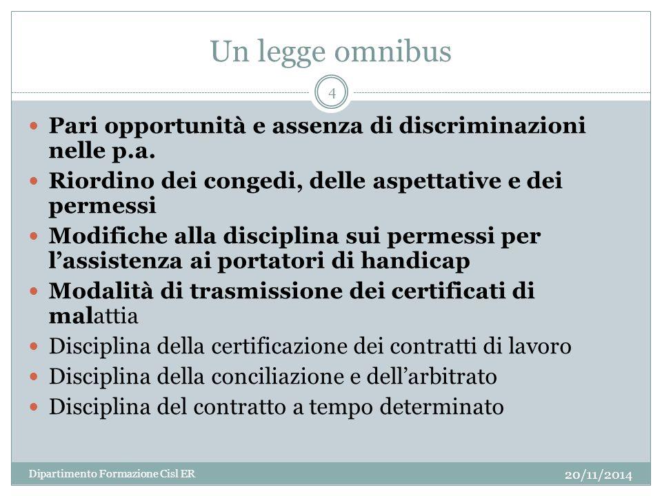 Un legge omnibus Pari opportunità e assenza di discriminazioni nelle p.a. Riordino dei congedi, delle aspettative e dei permessi.