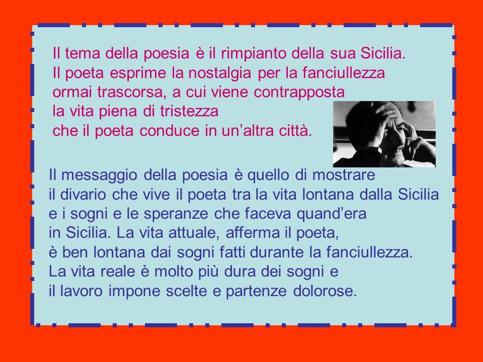 Il tema della poesia è il rimpianto della sua Sicilia.