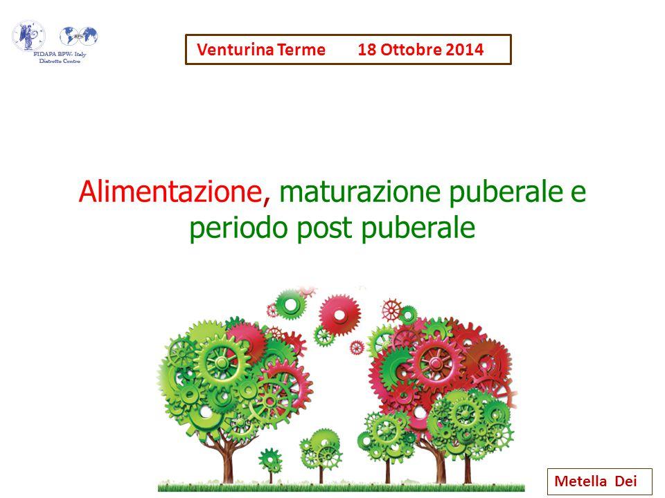 Alimentazione, maturazione puberale e periodo post puberale