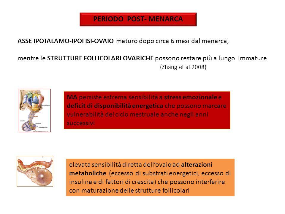 PERIODO POST- MENARCA ASSE IPOTALAMO-IPOFISI-OVAIO maturo dopo circa 6 mesi dal menarca,