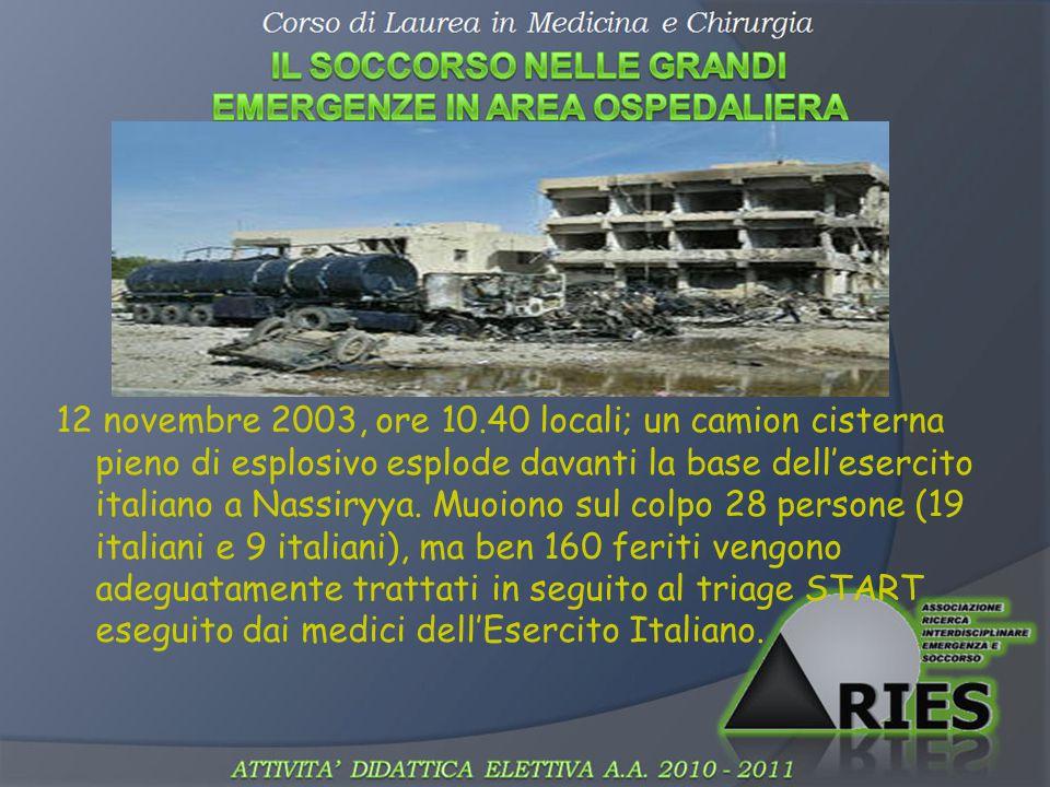 12 novembre 2003, ore 10.40 locali; un camion cisterna pieno di esplosivo esplode davanti la base dell'esercito italiano a Nassiryya.