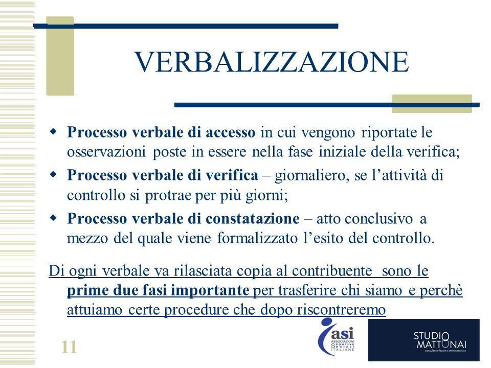 VERBALIZZAZIONE Processo verbale di accesso in cui vengono riportate le osservazioni poste in essere nella fase iniziale della verifica;