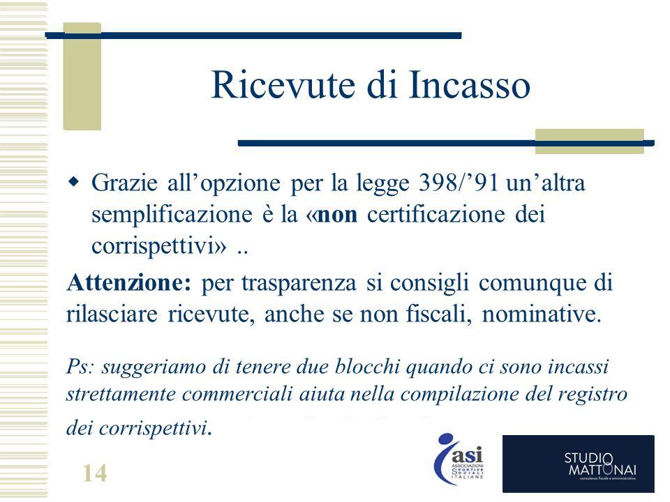Ricevute di Incasso Grazie all'opzione per la legge 398/'91 un'altra semplificazione è la «non certificazione dei corrispettivi» ..