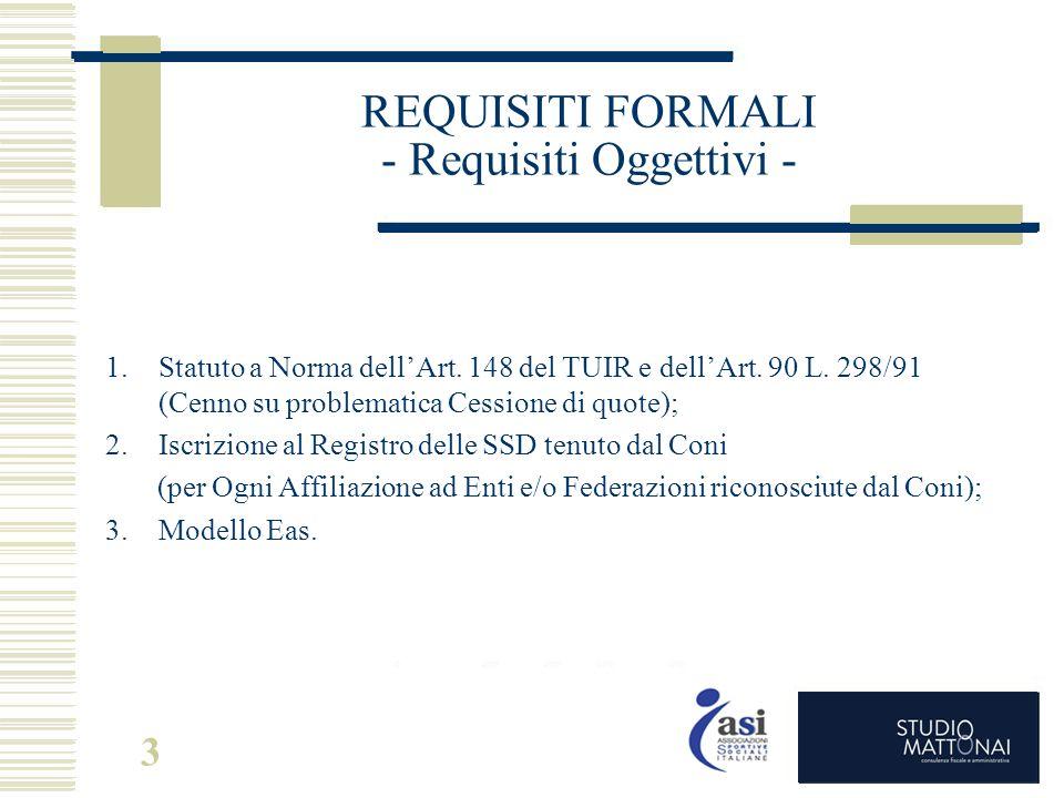 REQUISITI FORMALI - Requisiti Oggettivi -