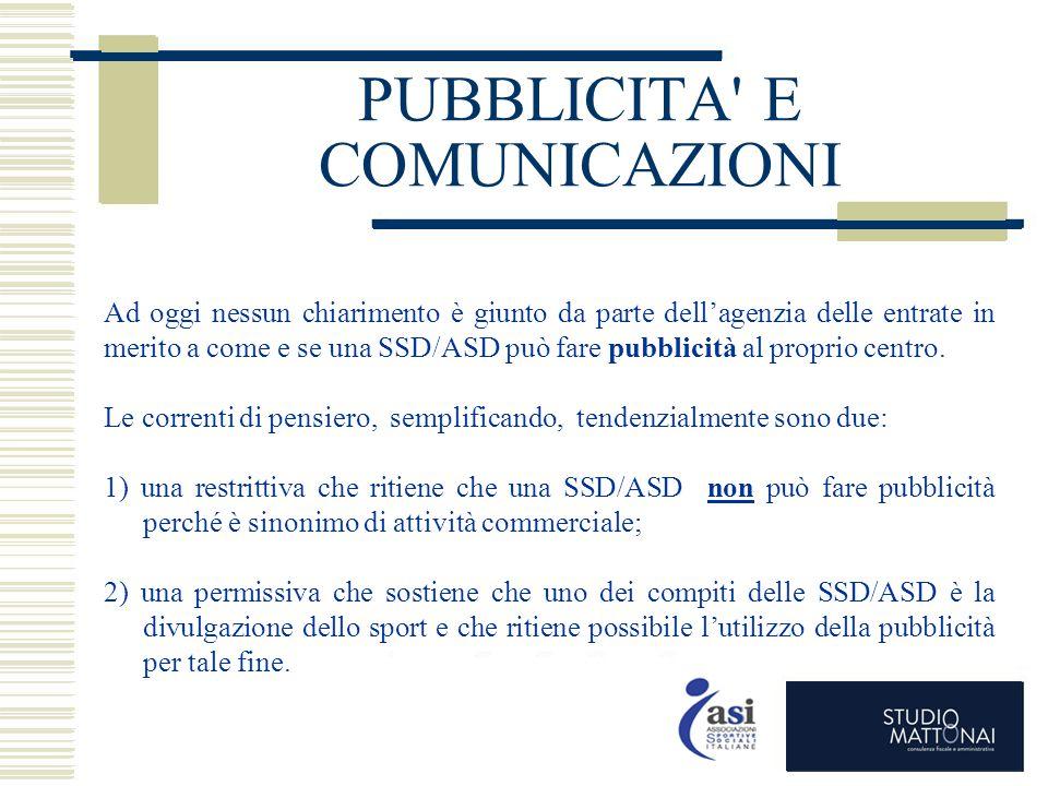PUBBLICITA E COMUNICAZIONI