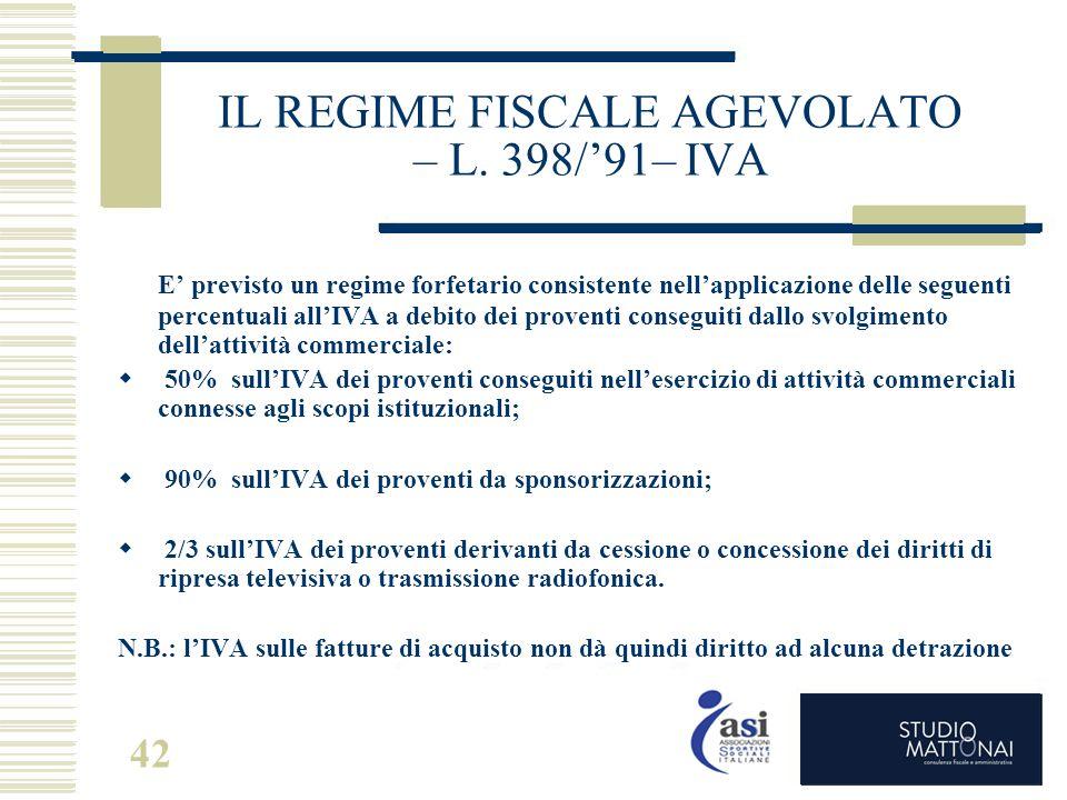 IL REGIME FISCALE AGEVOLATO – L. 398/'91– IVA