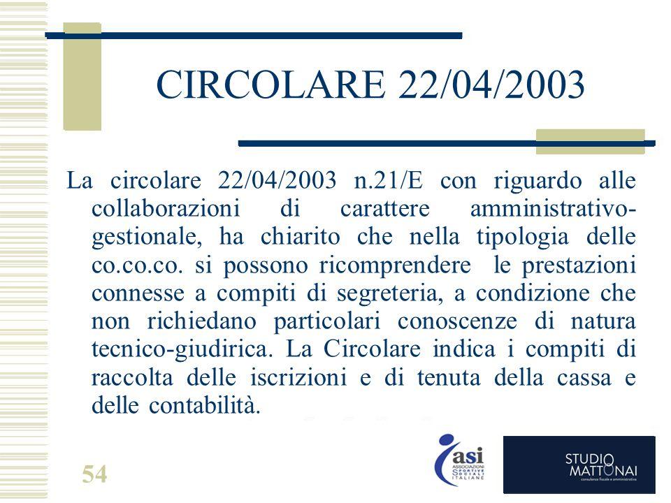CIRCOLARE 22/04/2003