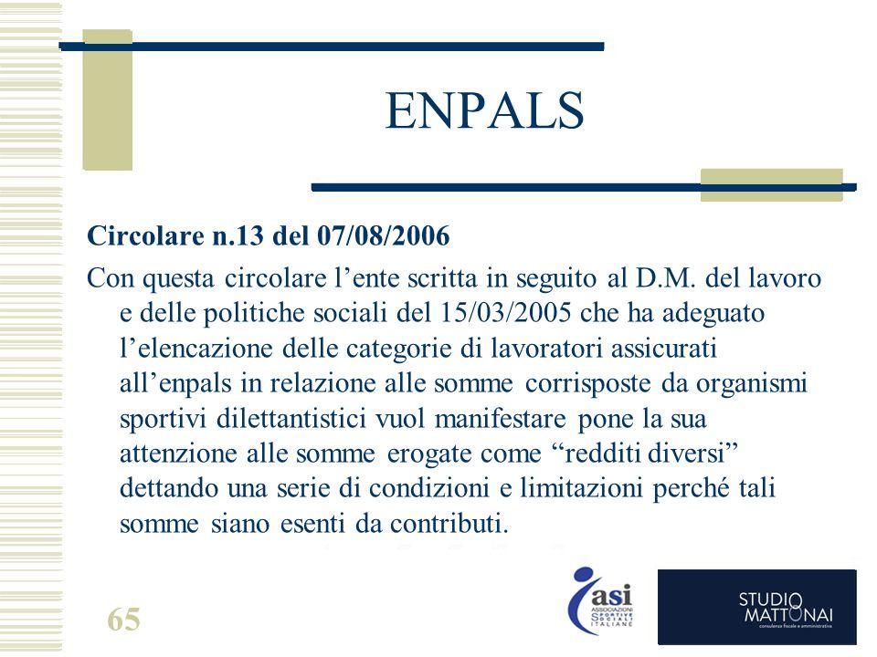 ENPALS Circolare n.13 del 07/08/2006