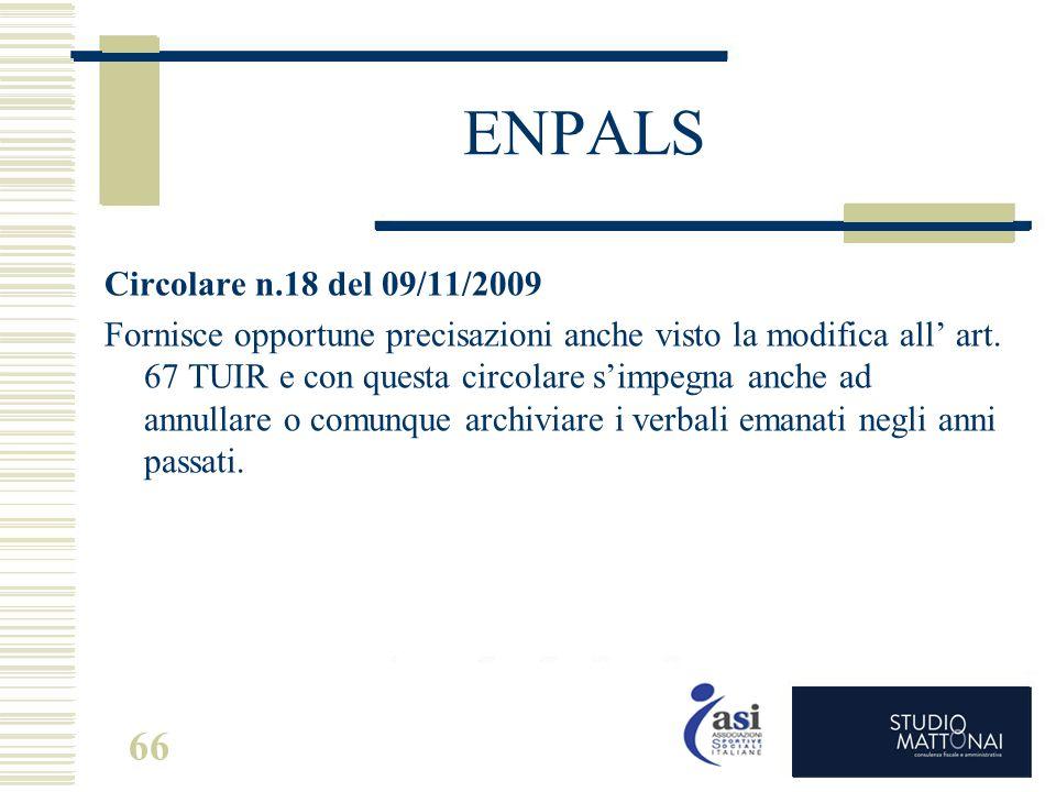 ENPALS Circolare n.18 del 09/11/2009