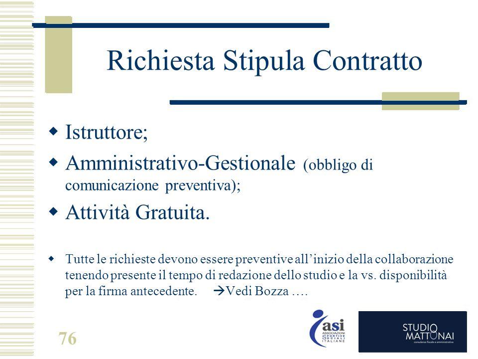 Richiesta Stipula Contratto