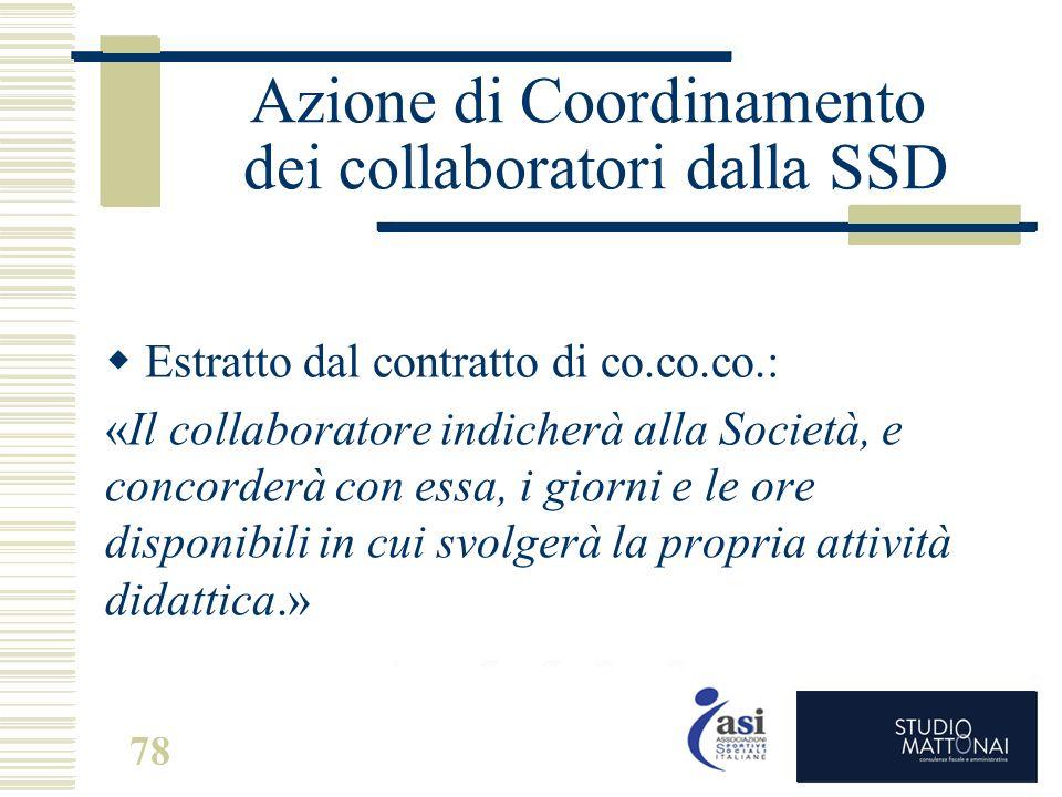 Azione di Coordinamento dei collaboratori dalla SSD