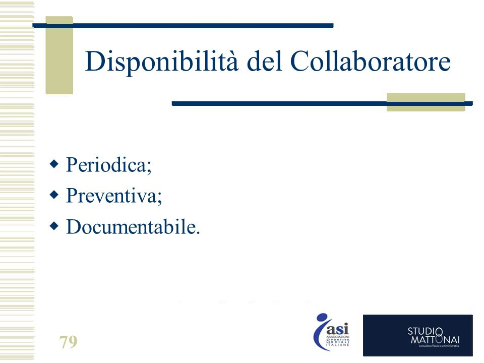 Disponibilità del Collaboratore