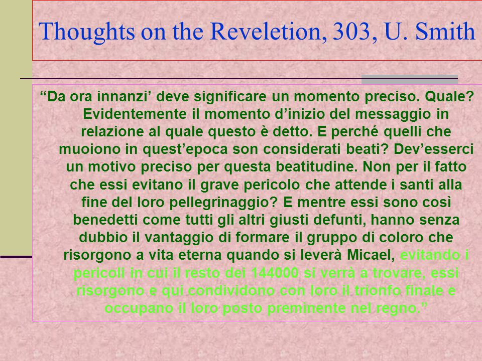 Thoughts on the Reveletion, 303, U. Smith