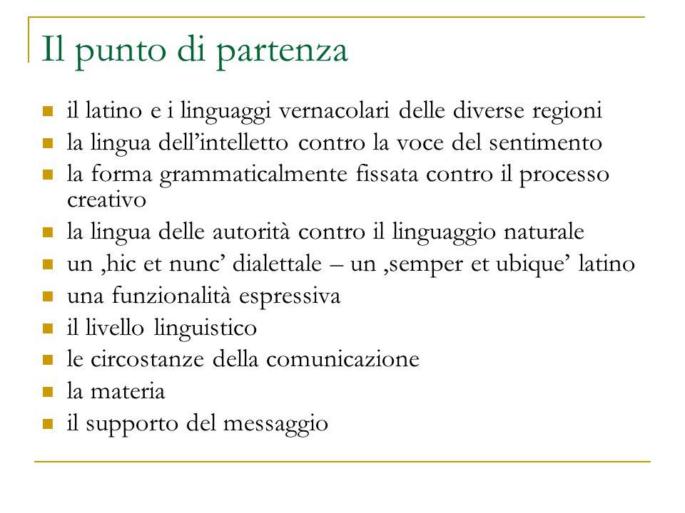 Il punto di partenza il latino e i linguaggi vernacolari delle diverse regioni. la lingua dell'intelletto contro la voce del sentimento.