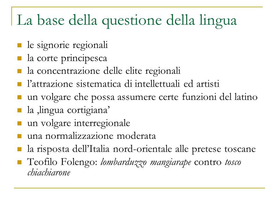 La base della questione della lingua